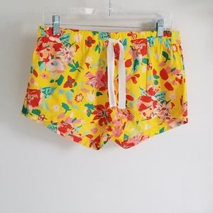 J. Crew yellow tropical floral shorts size small